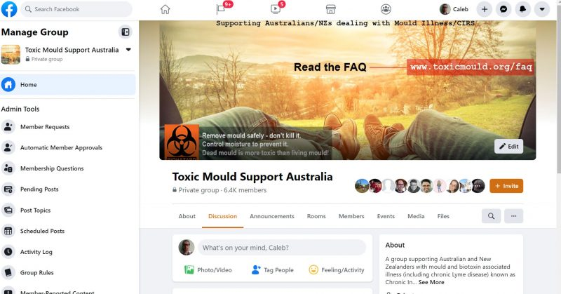Toxic Mould Support Australia Facebook Group